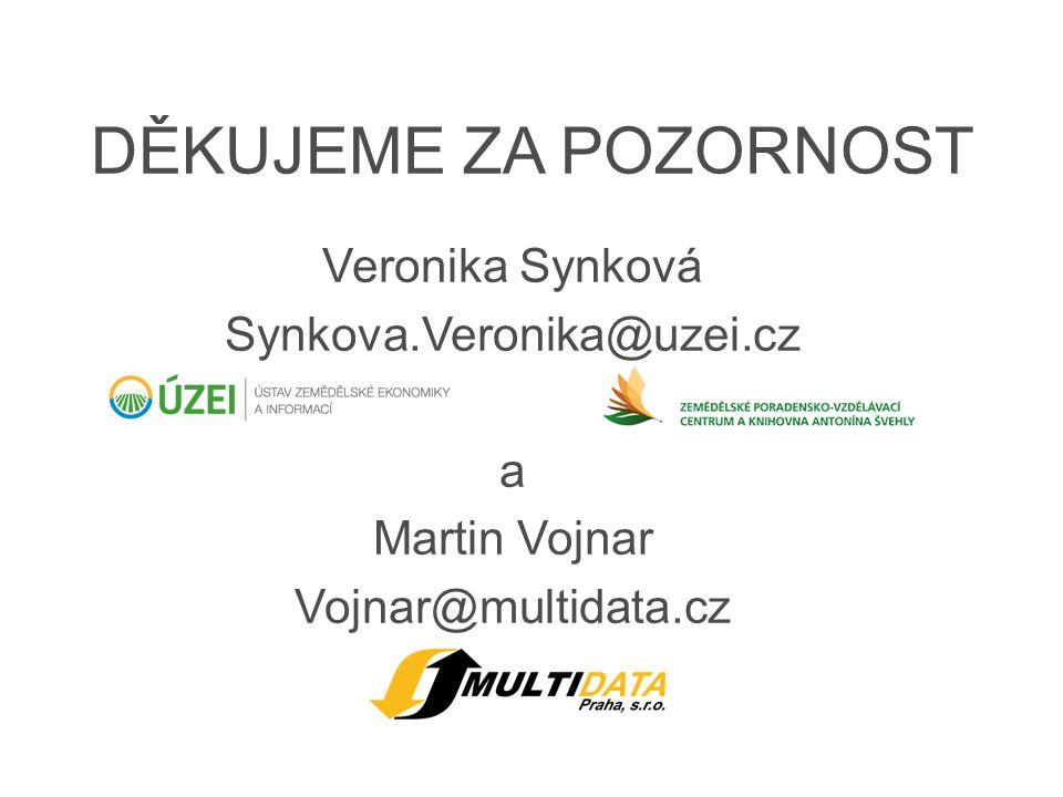 DĚKUJEME ZA POZORNOST Veronika Synková Synkova.Veronika@uzei.cz a Martin Vojnar Vojnar@multidata.cz