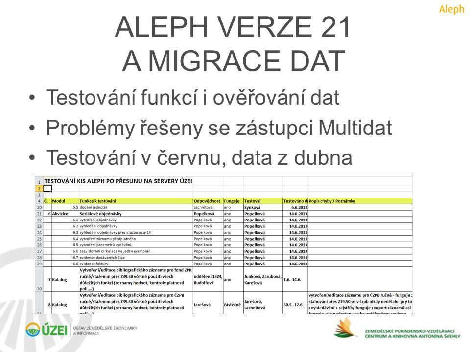 ALEPH VERZE 21 A MIGRACE DAT •Testování funkcí i ověřování dat •Problémy řešeny se zástupci Multidat •Testování v červnu, data z dubna