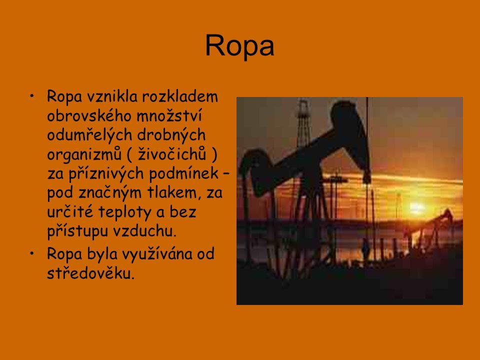 Ropa •Ropa vznikla rozkladem obrovského množství odumřelých drobných organizmů ( živočichů ) za příznivých podmínek – pod značným tlakem, za určité teploty a bez přístupu vzduchu.