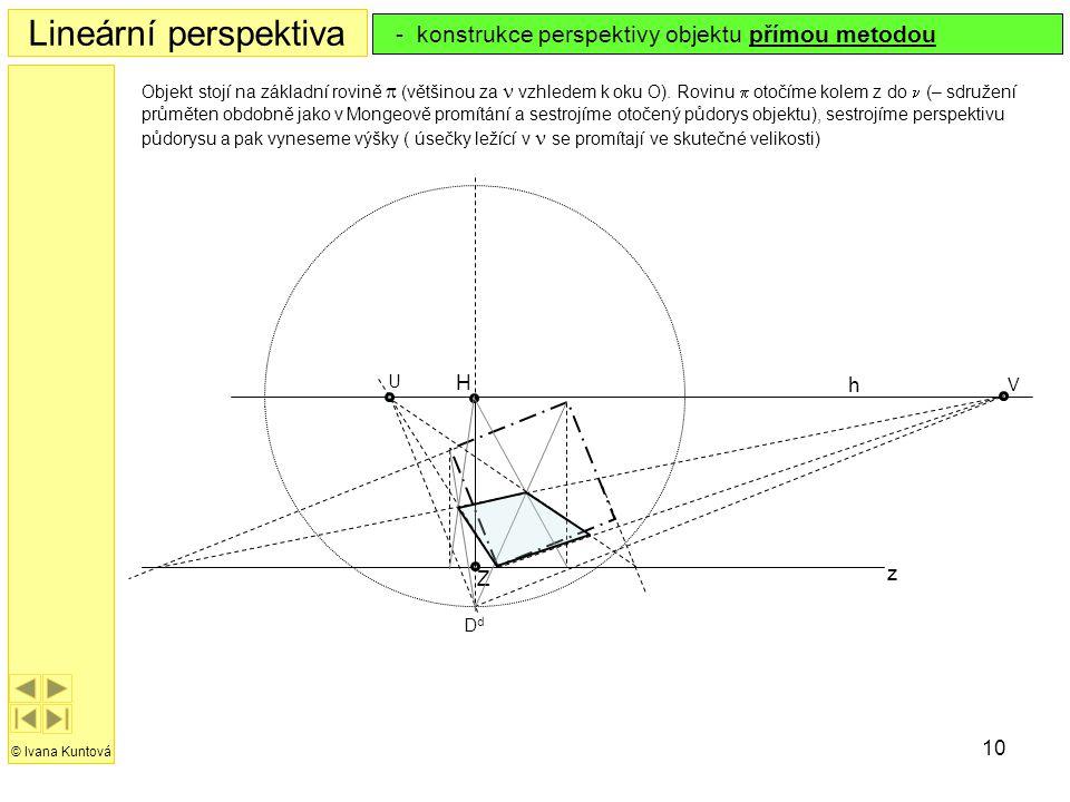 10 Lineární perspektiva © Ivana Kuntová - konstrukce perspektivy objektu přímou metodou h z H Z Objekt stojí na základní rovině  (většinou za  vzhle