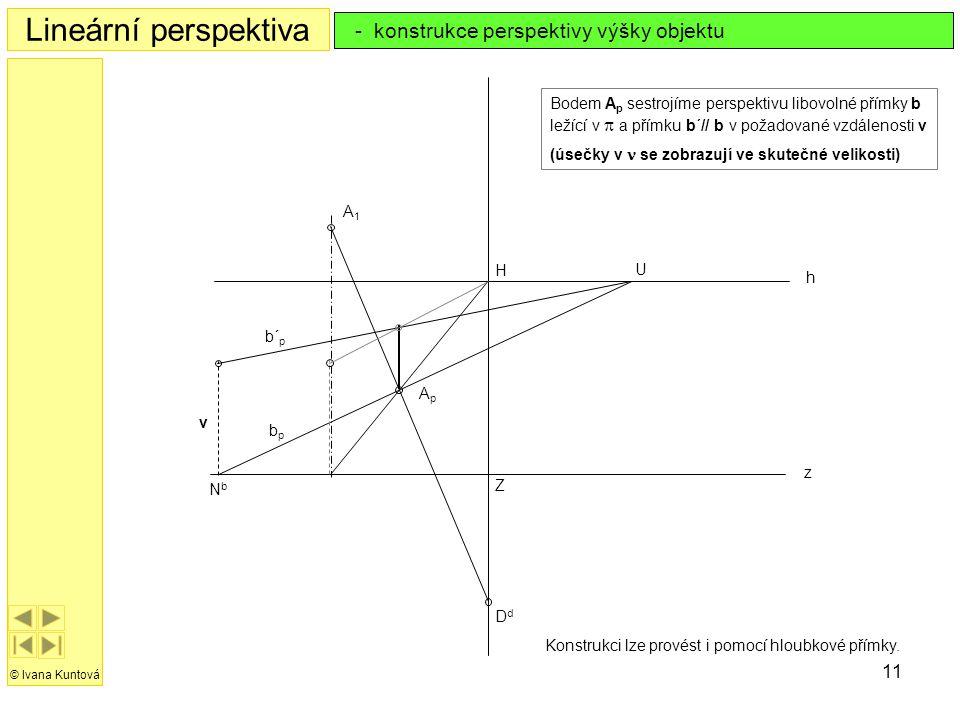 11 Lineární perspektiva © Ivana Kuntová - konstrukce perspektivy výšky objektu h z H Z DdDd A1A1 ApAp Bodem A p sestrojíme perspektivu libovolné přímk