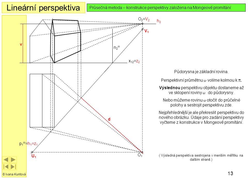 13 Lineární perspektiva © Ivana Kuntová Průsečná metoda – konstrukce perspektivy založena na Mongeově promítání O1O1 O2=V2O2=V2 x 12 =z 2 h2h2 Půdorys