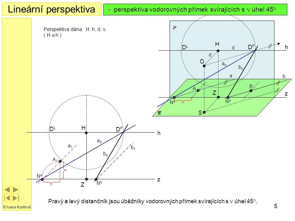 5 h z H Z Lineární perspektiva © Ivana Kuntová  h z S O H  Z Perspektiva dána: H, h, d, v, ( H  h ) Pravý a levý distančník jsou úběžníky vodorovn
