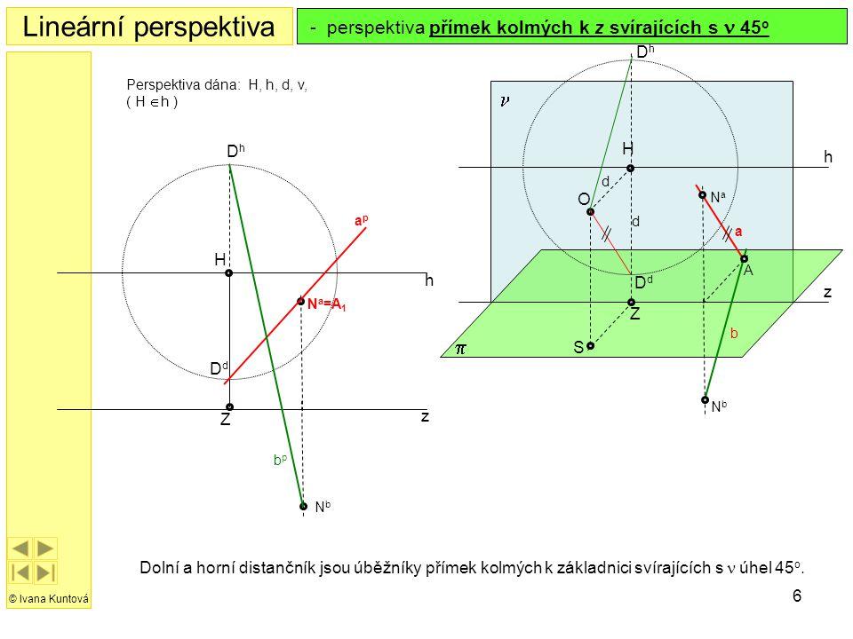 6 h z H Z Lineární perspektiva © Ivana Kuntová  h z S O H  Z Perspektiva dána: H, h, d, v, ( H  h ) - perspektiva přímek kolmých k z svírajících s