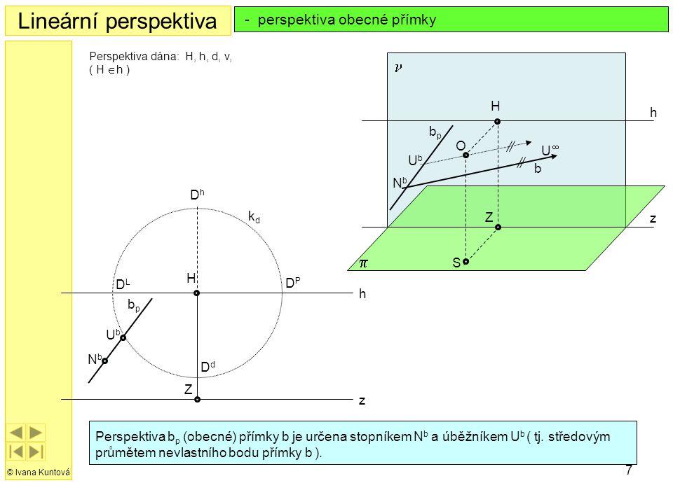 7 h z H Z kdkd DdDd DPDP DLDL DhDh Lineární perspektiva © Ivana Kuntová Perspektiva b p (obecné)  přímky b je určena stopníkem N b a úběžníkem U b (
