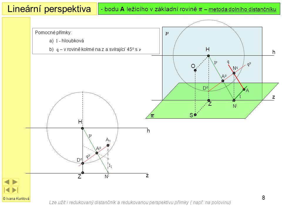 8 h z H Z Lineární perspektiva © Ivana Kuntová  h z S O H  Z Pomocné přímky: a) l - hloubková b) q – v rovině kolmé na z a svírající 45 o s  - bodu