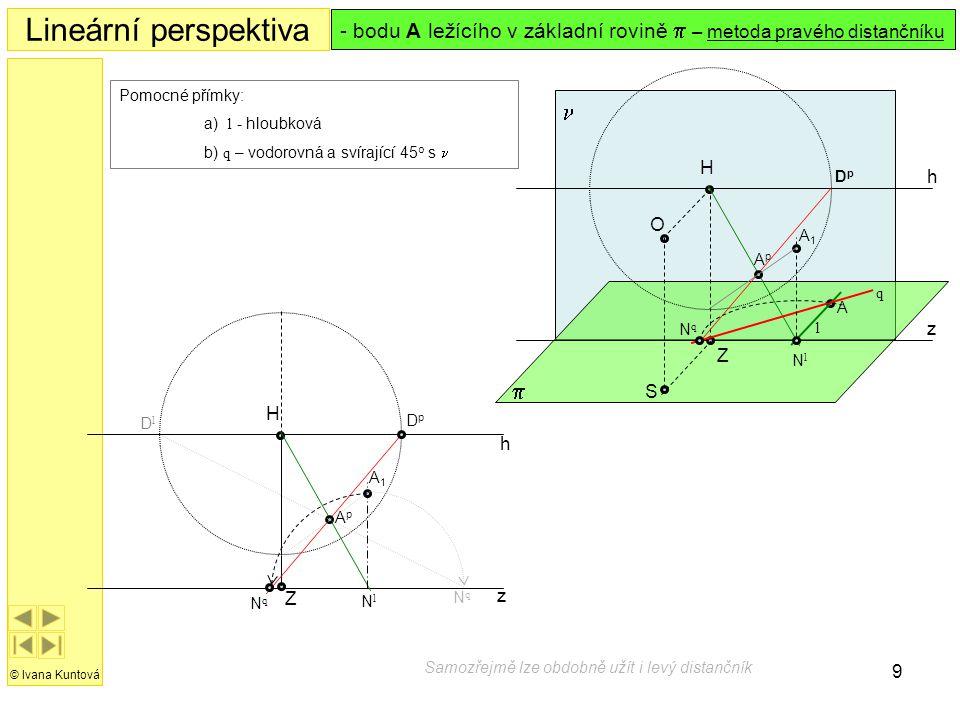 9 h z H Z Lineární perspektiva © Ivana Kuntová  h z S O H  Z Pomocné přímky: a) l - hloubková b) q – vodorovná a svírající 45 o s  - bodu A ležícíh