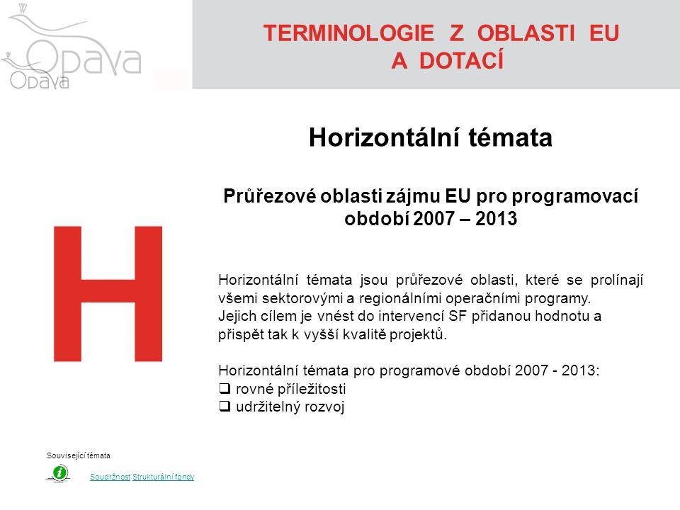 TERMINOLOGIE Z OBLASTI EU A DOTACÍ H Horizontální témata Průřezové oblasti zájmu EU pro programovací období 2007 – 2013 Horizontální témata jsou průřezové oblasti, které se prolínají všemi sektorovými a regionálními operačními programy.