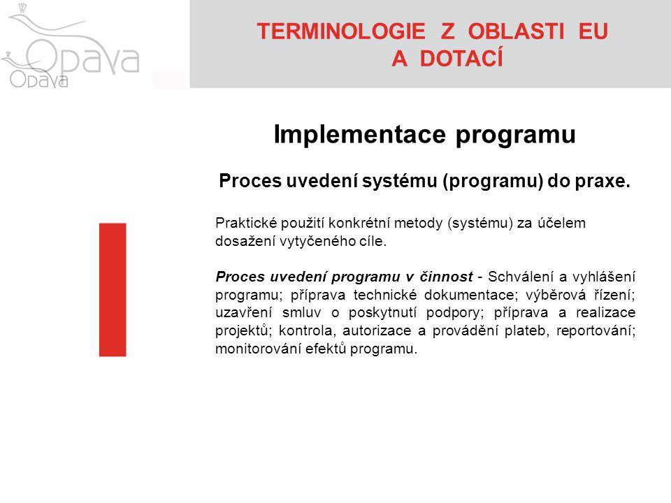TERMINOLOGIE Z OBLASTI EU A DOTACÍ I Implementace programu Proces uvedení systému (programu) do praxe. Praktické použití konkrétní metody (systému) za