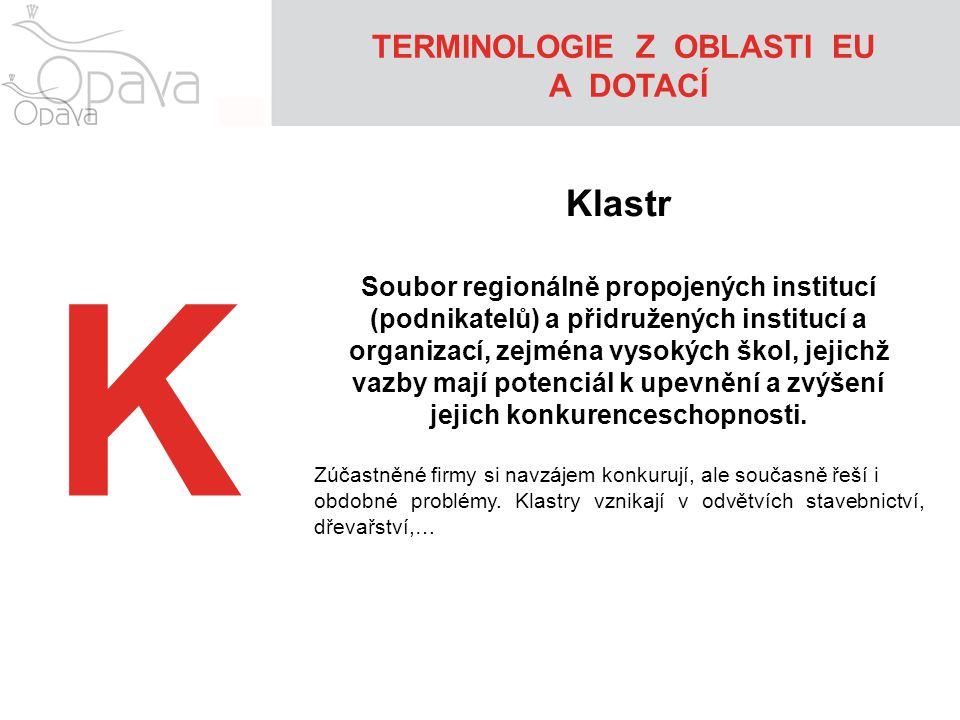 K Klastr Soubor regionálně propojených institucí (podnikatelů) a přidružených institucí a organizací, zejména vysokých škol, jejichž vazby mají potenc