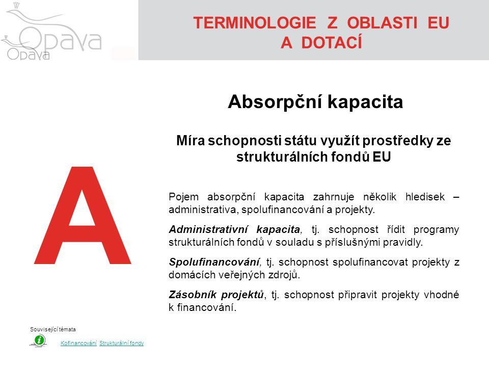 A TERMINOLOGIE Z OBLASTI EU A DOTACÍ Absorpční kapacita Míra schopnosti státu využít prostředky ze strukturálních fondů EU Pojem absorpční kapacita zahrnuje několik hledisek – administrativa, spolufinancování a projekty.