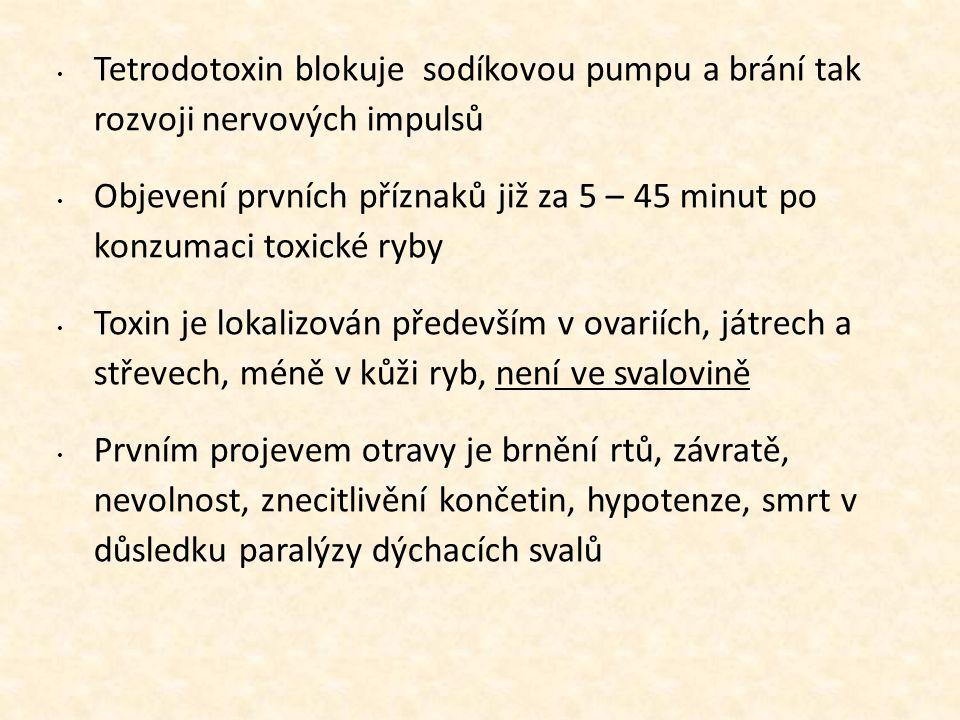 • Tetrodotoxin blokuje sodíkovou pumpu a brání tak rozvoji nervových impulsů • Objevení prvních příznaků již za 5 – 45 minut po konzumaci toxické ryby