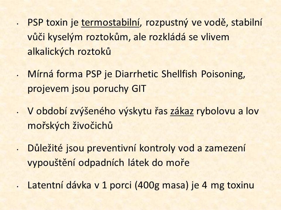 • PSP toxin je termostabilní, rozpustný ve vodě, stabilní vůči kyselým roztokům, ale rozkládá se vlivem alkalických roztoků • Mírná forma PSP je Diarr