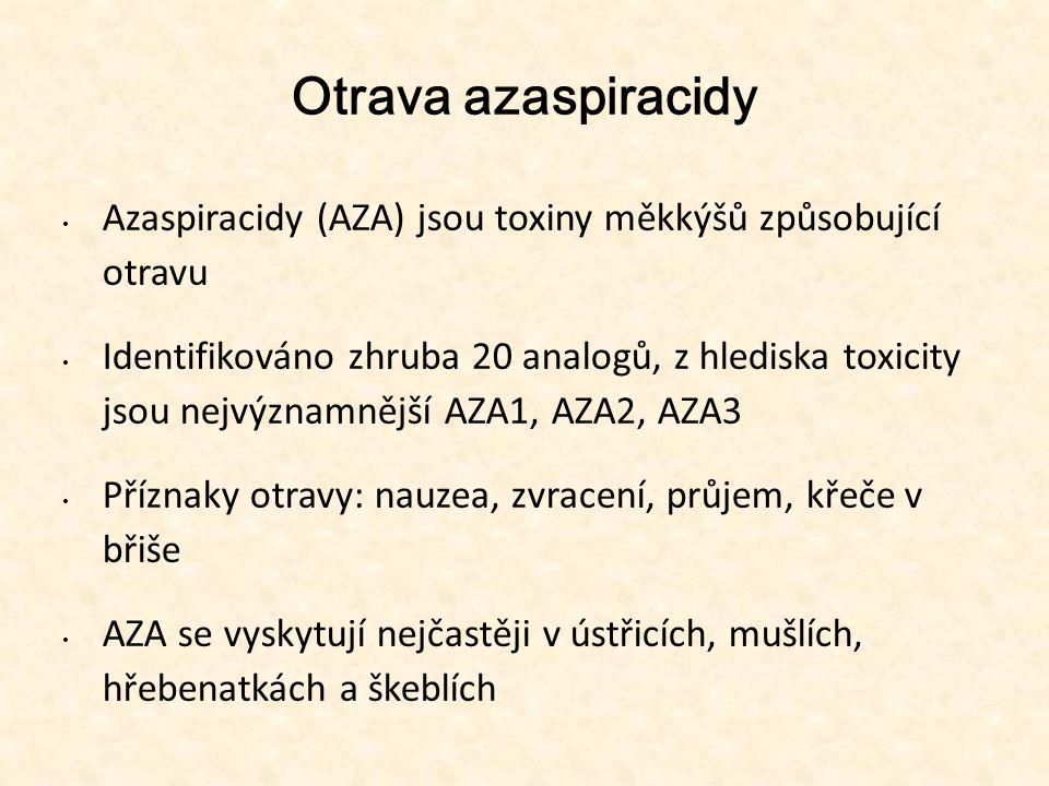 Otrava azaspiracidy • Azaspiracidy (AZA) jsou toxiny měkkýšů způsobující otravu • Identifikováno zhruba 20 analogů, z hlediska toxicity jsou nejvýznam