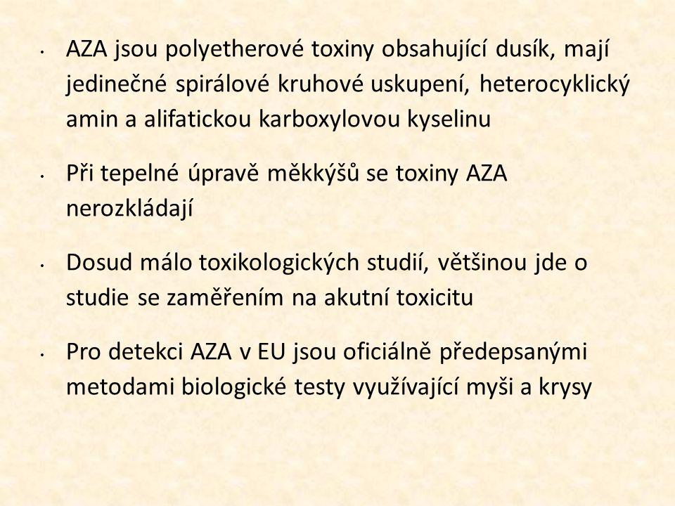 • AZA jsou polyetherové toxiny obsahující dusík, mají jedinečné spirálové kruhové uskupení, heterocyklický amin a alifatickou karboxylovou kyselinu •