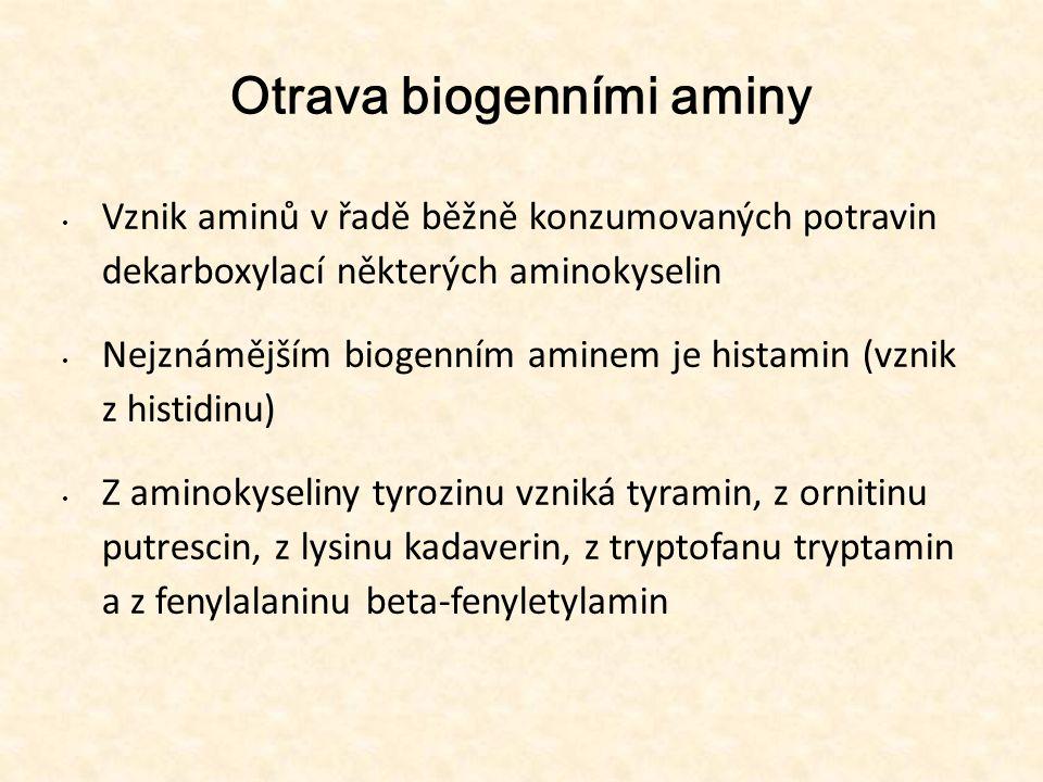 Otrava biogenními aminy • Vznik aminů v řadě běžně konzumovaných potravin dekarboxylací některých aminokyselin • Nejznámějším biogenním aminem je hist