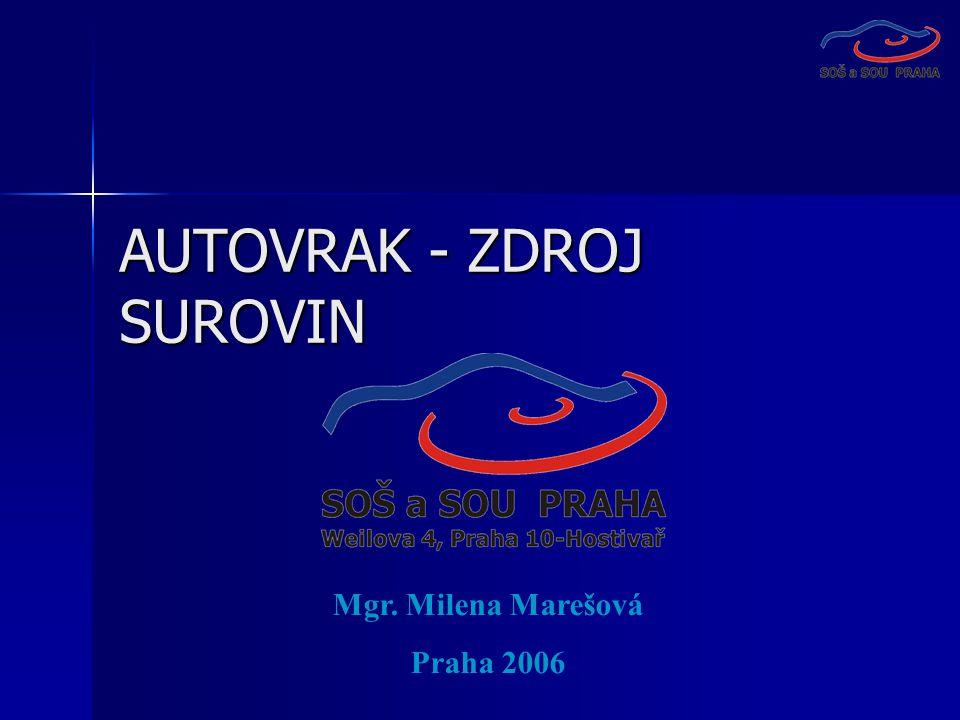 AUTOVRAK - ZDROJ SUROVIN Mgr. Milena Marešová Praha 2006