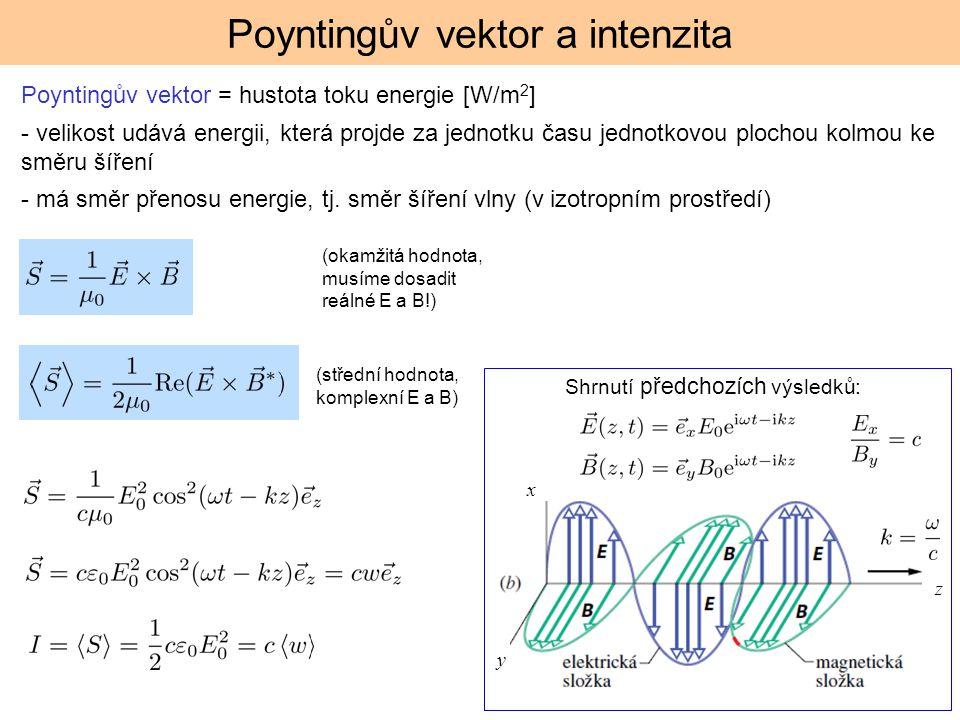 Poyntingův vektor a intenzita Poyntingův vektor = hustota toku energie [W/m 2 ] - velikost udává energii, která projde za jednotku času jednotkovou pl