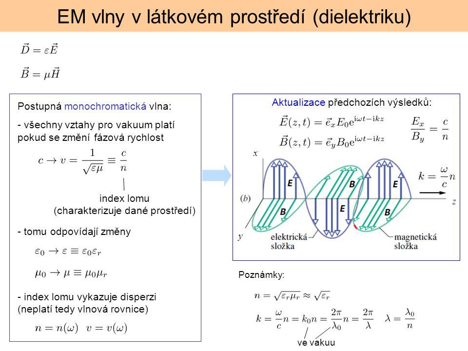 EM vlny v látkovém prostředí (dielektriku) Postupná monochromatická vlna: - všechny vztahy pro vakuum platí pokud se změní fázová rychlost index lomu