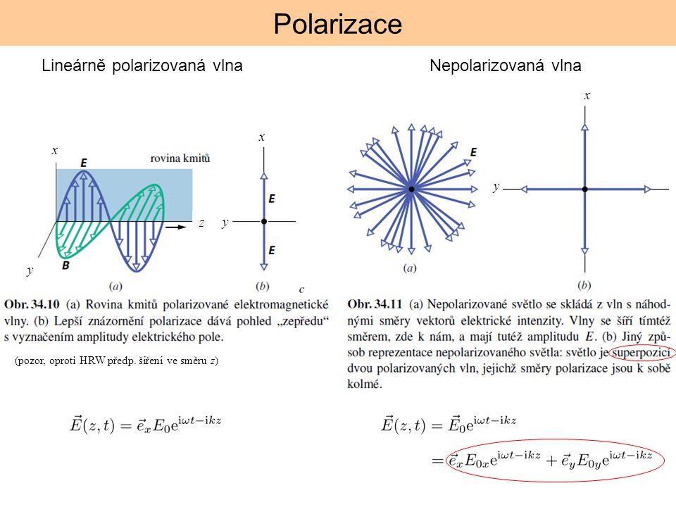 Polarizace Lineárně polarizovaná vlnaNepolarizovaná vlna (pozor, oproti HRW předp. šíření ve směru z) x y z x y x y