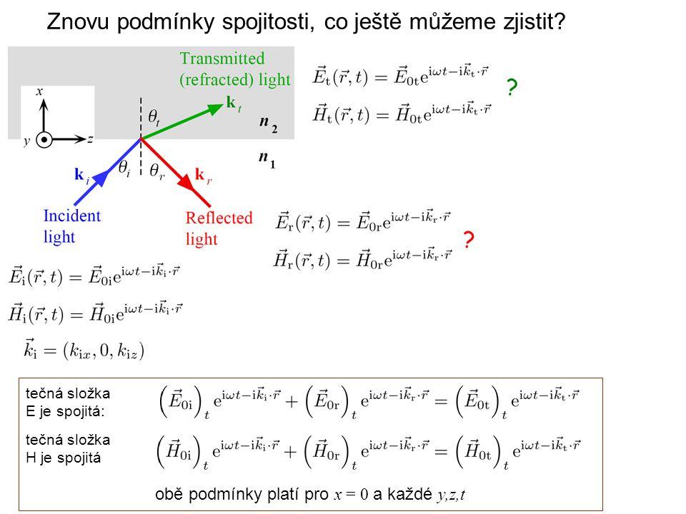 ? ? Znovu podmínky spojitosti, co ještě můžeme zjistit? tečná složka E je spojitá: tečná složka H je spojitá obě podmínky platí pro x = 0 a každé y,z,