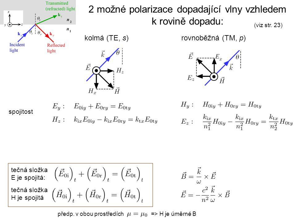 tečná složka E je spojitá: tečná složka H je spojitá 2 možné polarizace dopadající vlny vzhledem k rovině dopadu: kolmá (TE, s)rovnoběžná (TM, p) spoj