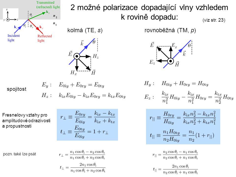 2 možné polarizace dopadající vlny vzhledem k rovině dopadu: kolmá (TE, s)rovnoběžná (TM, p) spojitost (viz str. 23) Fresnelovy vztahy pro amplitudové