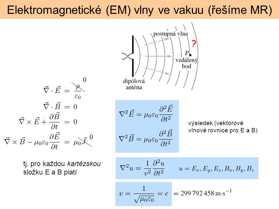 Elektromagnetické (EM) vlny ve vakuu (řešíme MR) ? výsledek (vektorové vlnové rovnice pro E a B) 0 0 tj. pro každou kartézskou složku E a B platí