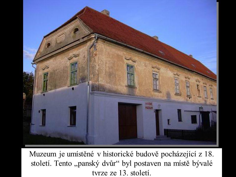 """Muzeum je umístěné v historické budově pocházející z 18. století. Tento """"panský dvůr"""" byl postaven na místě bývalé tvrze ze 13. století."""