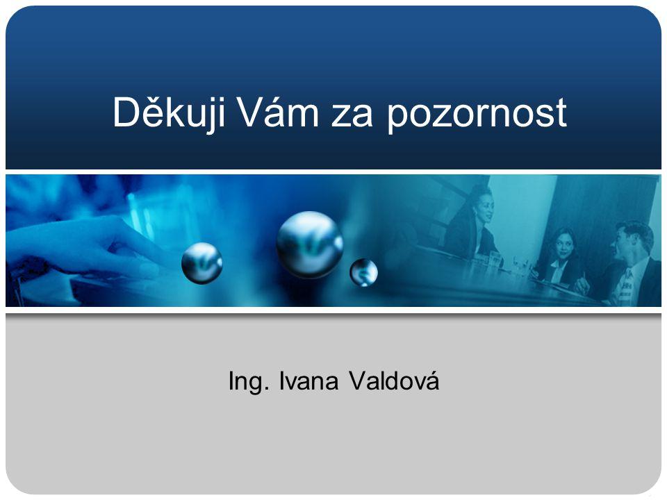 Děkuji Vám za pozornost Ing. Ivana Valdová