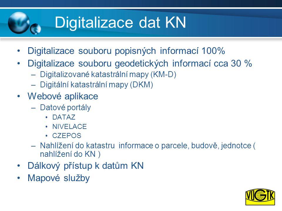 Digitalizace dat KN •Digitalizace souboru popisných informací 100% •Digitalizace souboru geodetických informací cca 30 % –Digitalizované katastrální mapy (KM-D) –Digitální katastrální mapy (DKM) •Webové aplikace –Datové portály •DATAZ •NIVELACE •CZEPOS –Nahlížení do katastru informace o parcele, budově, jednotce ( nahlížení do KN ) •Dálkový přístup k datům KN •Mapové služby