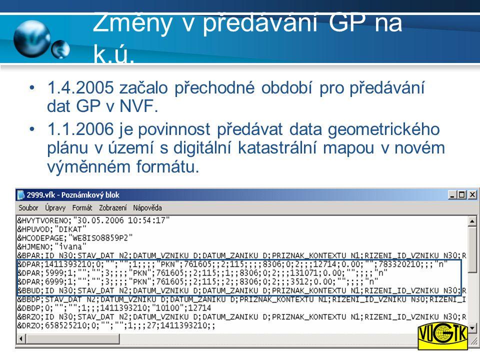 Změny v předávání GP na k.ú. •1.4.2005 začalo přechodné období pro předávání dat GP v NVF. •1.1.2006 je povinnost předávat data geometrického plánu v