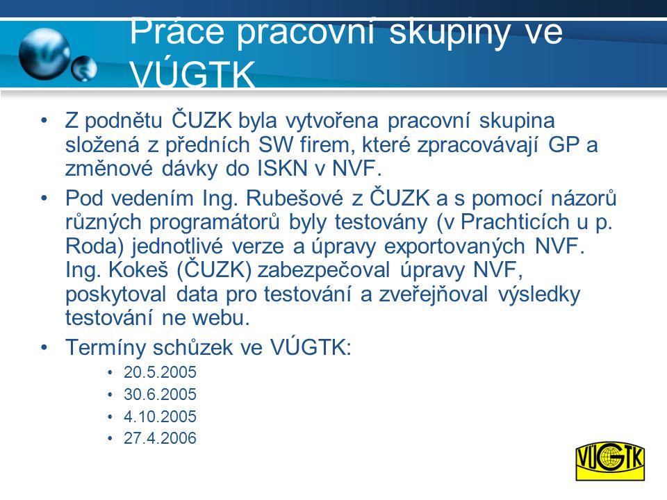 Práce pracovní skupiny ve VÚGTK •Z podnětu ČUZK byla vytvořena pracovní skupina složená z předních SW firem, které zpracovávají GP a změnové dávky do ISKN v NVF.