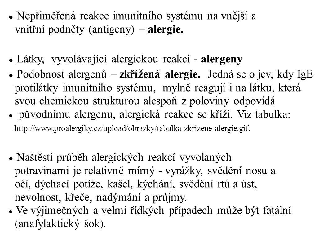  Nepřiměřená reakce imunitního systému na vnější a vnitřní podněty (antigeny) – alergie.  Látky, vyvolávající alergickou reakci - alergeny  Podobno