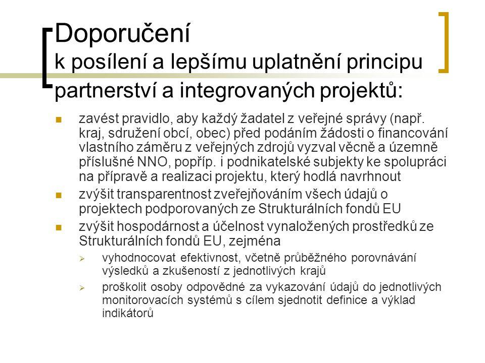 Doporučení k posílení a lepšímu uplatnění principu partnerství a integrovaných projektů:  zavést pravidlo, aby každý žadatel z veřejné správy (např.