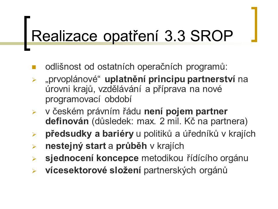 """Realizace opatření 3.3 SROP  odlišnost od ostatních operačních programů:  """"prvoplánové uplatnění principu partnerství na úrovni krajů, vzdělávání a příprava na nové programovací období  v českém právním řádu není pojem partner definován (důsledek: max."""