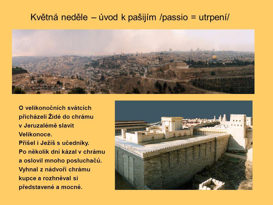 O velikonočních svátcích přicházeli Židé do chrámu v Jeruzalémě slavit Velikonoce. Přišel i Ježíš s učedníky. Po několik dní kázal v chrámu a oslovil