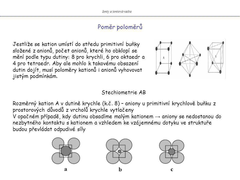 Ionty a iontová vazba Jestliže se kation umístí do středu primitivní buňky složené z anionů, počet anionů, které ho obklopí se mění podle typu dutiny: 8 pro krychli, 6 pro oktaedr a 4 pro tetraedr.