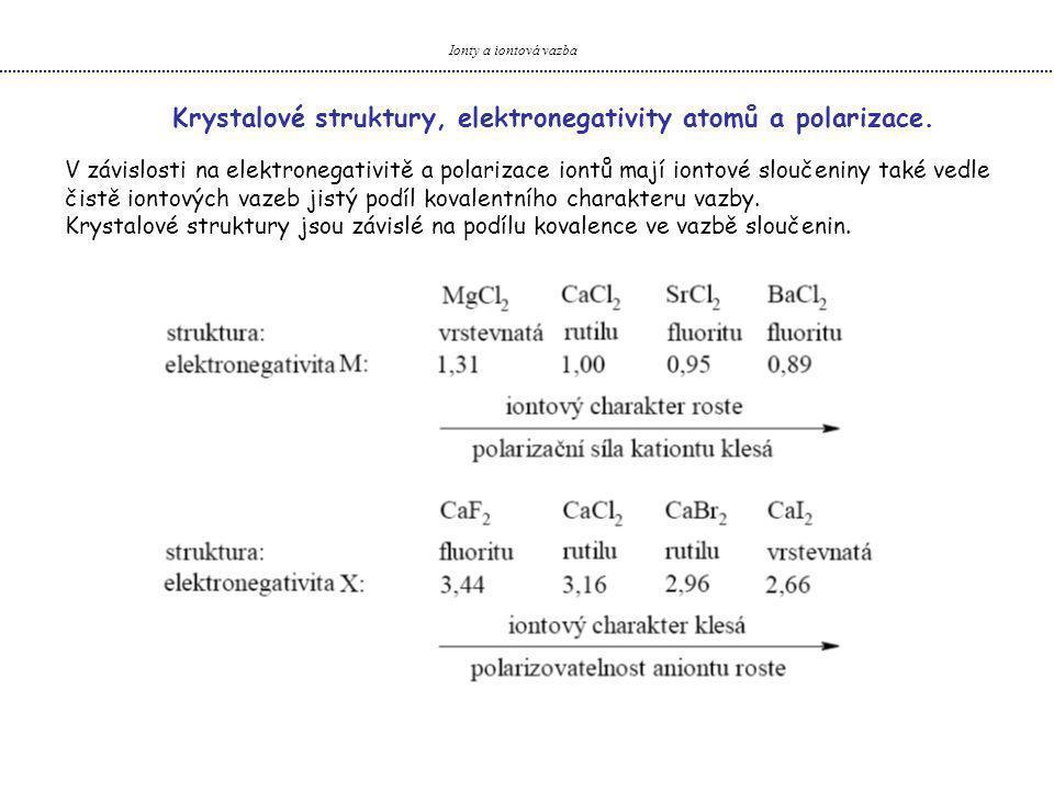 Ionty a iontová vazba Krystalové struktury, elektronegativity atomů a polarizace. V závislosti na elektronegativitě a polarizace iontů mají iontové sl