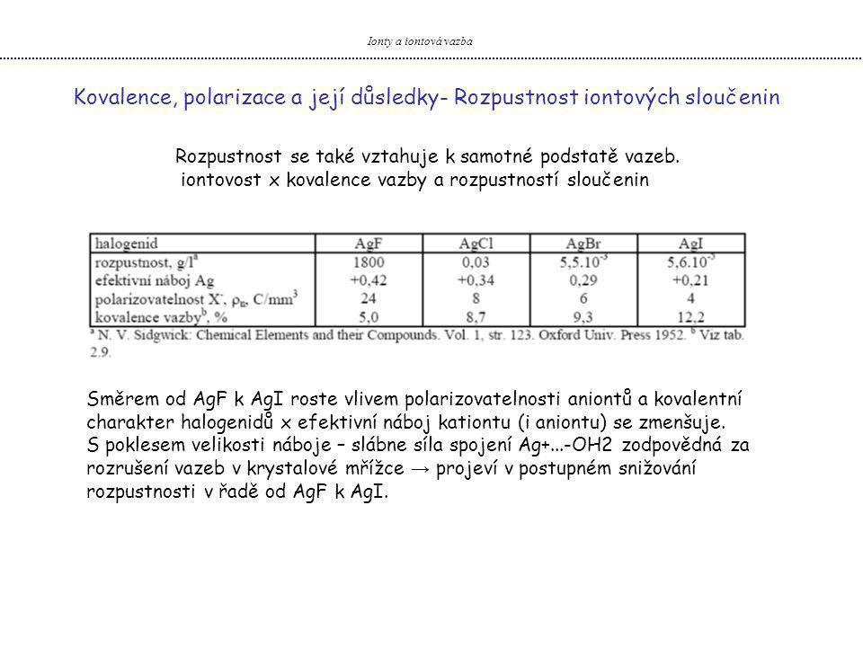 Ionty a iontová vazba Kovalence, polarizace a její důsledky- Rozpustnost iontových sloučenin Rozpustnost se také vztahuje k samotné podstatě vazeb. io