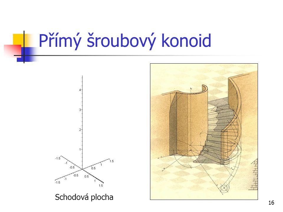16 Přímý šroubový konoid Schodová plocha