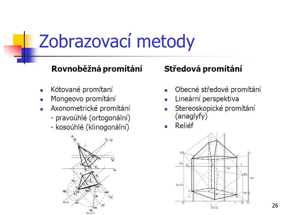 26 Zobrazovací metody Rovnoběžná promítání  Kótované promítaní  Mongeovo promítání  Axonometrické promítání - pravoúhlé (ortogonální) - kosoúhlé (klinogonální) Středová promítání  Obecné středové promítání  Lineární perspektiva  Stereoskopické promítání (anaglyfy)  Reliéf
