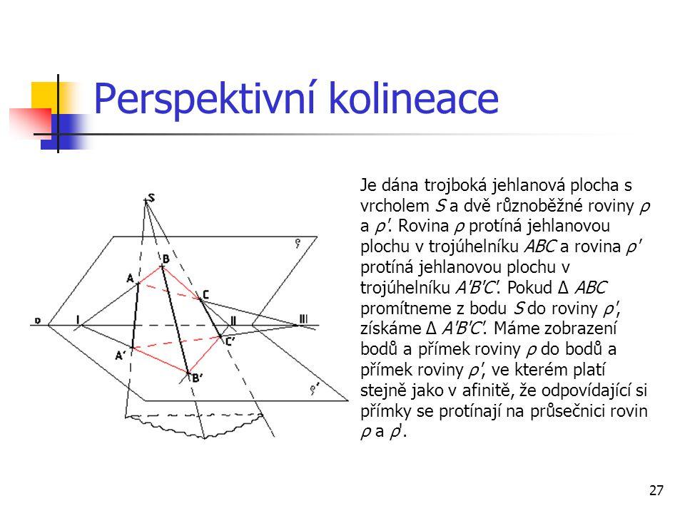 27 Perspektivní kolineace Je dána trojboká jehlanová plocha s vrcholem S a dvě různoběžné roviny ρ a ρ .