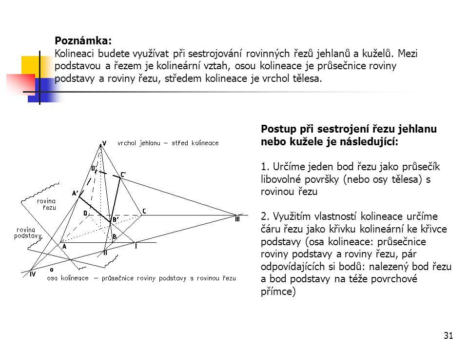 31 Poznámka: Kolineaci budete využívat při sestrojování rovinných řezů jehlanů a kuželů.