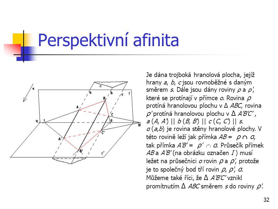 32 Perspektivní afinita Je dána trojboká hranolová plocha, jejíž hrany a, b, c jsou rovnoběžné s daným směrem s.