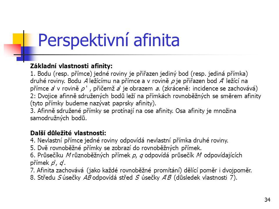 34 Perspektivní afinita Základní vlastnosti afinity: 1.