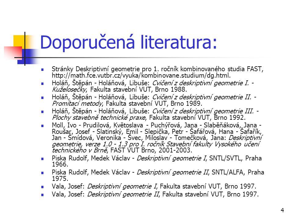 4 Doporučená literatura:  Stránky Deskriptivní geometrie pro 1.