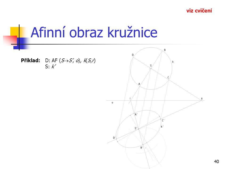 40 Afinní obraz kružnice Příklad: D: AF (S  S', o), k(S,r) S: k' viz cvičení