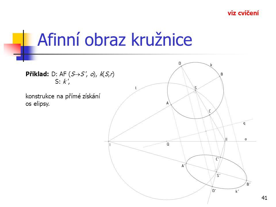 41 Afinní obraz kružnice Příklad: D: AF (S  S ', o), k(S,r) S: k ', konstrukce na přímé získání os elipsy.
