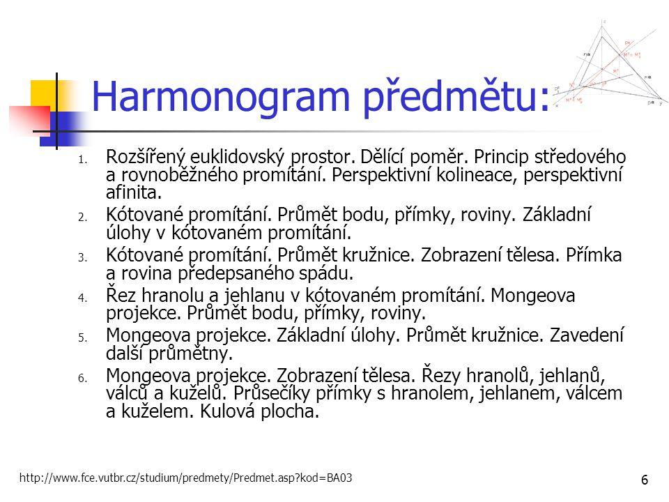 6 Harmonogram předmětu: 1.Rozšířený euklidovský prostor.